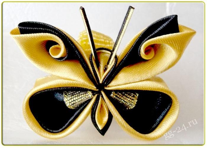 Как сделать канзаши бабочку